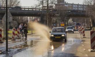 9 maart Wateroverlast door lek bij bouw A4 Schiedam