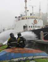 Grote brand op voormalig marineschip De Zeefakkel