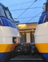 Trein tegen trein gebotst station Leiden