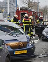 Aanrijding tussen vijf personenauto's Europaweg (video update)
