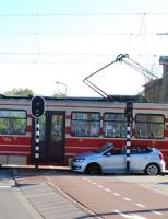 Flinke aanrijding met tram George Maduroplein Den Haag