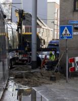 24 maart Tram ontspoord door kapotte waterleiding Rotterdam