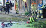 24 september Brandweer doorzoekt Delftse gracht na vermissing oude vrouw Oosteinde Delft