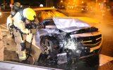 13 juli Uit de bocht gevlogen auto vliegt in brand Wippolderlaan Den Hoorn [VIDEO]