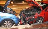 2 oktober Ravage nadat auto op geparkeerde auto's inrijdt Zwolsestraat Den Haag
