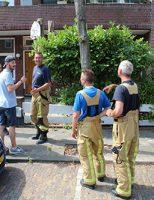 25 juli Kat houdt brandweer bezig op het dak Broekslootkade Rijswijk
