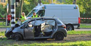 2 september Ernstige eenzijdige aanrijding tussen auto en trampaal Pierre van Hauwelaan Delft
