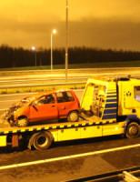 26 januari Auto over de kop A4 Den Hoorn