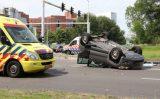 27 juni Auto ondersteboven na aanrijding Capelseweg Capelle aan den IJssel